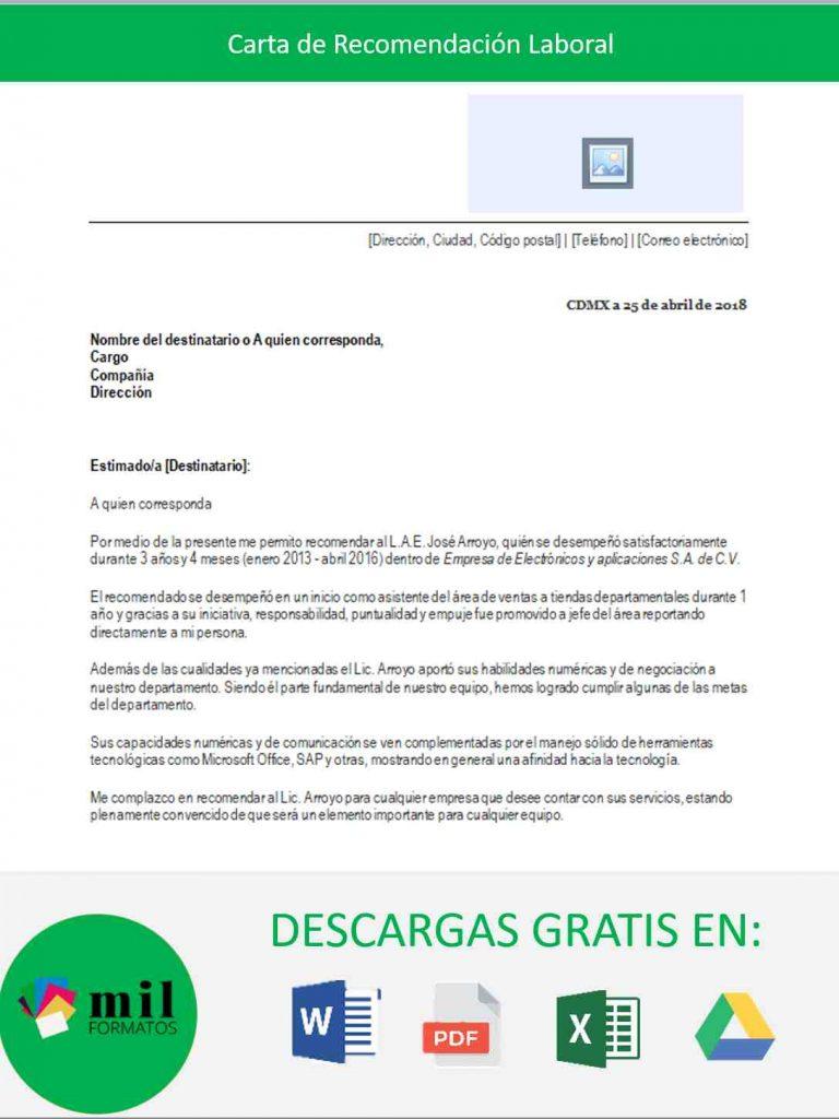 carta de recomendaci u00f3n laboral