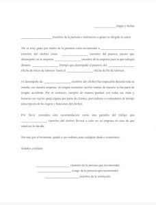 Carta de Recomendación Personal para Chofer