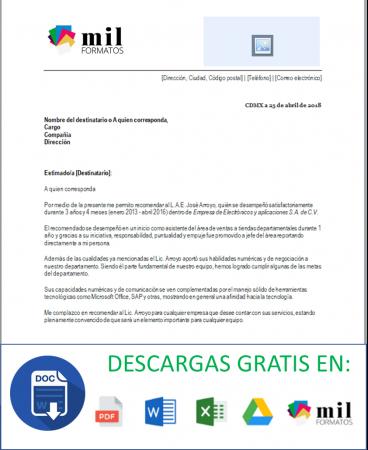 Carta Recomendacion Laboral