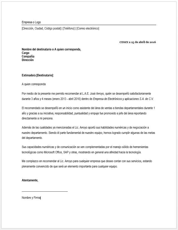 ejemplos de carta de referencia - Dcbuscharter.co