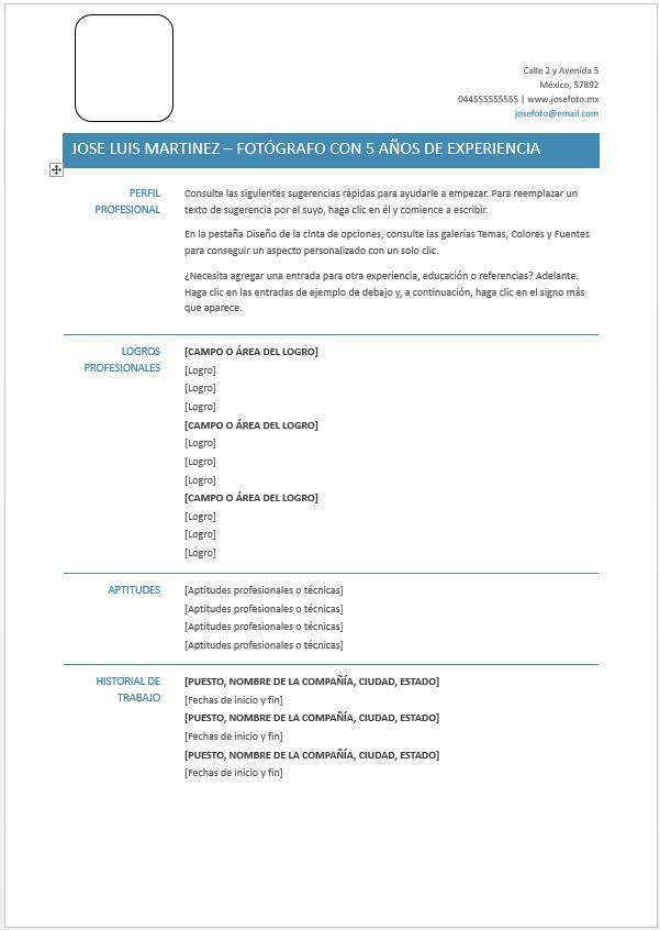 Curriculum Vitae Funcional Ejemplos Formatos Y Plantillas