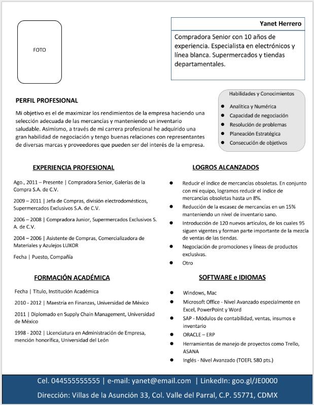 Currículum Vitae Mixto > Ejemplos, Formatos y Plantillas ¡Gratis ...