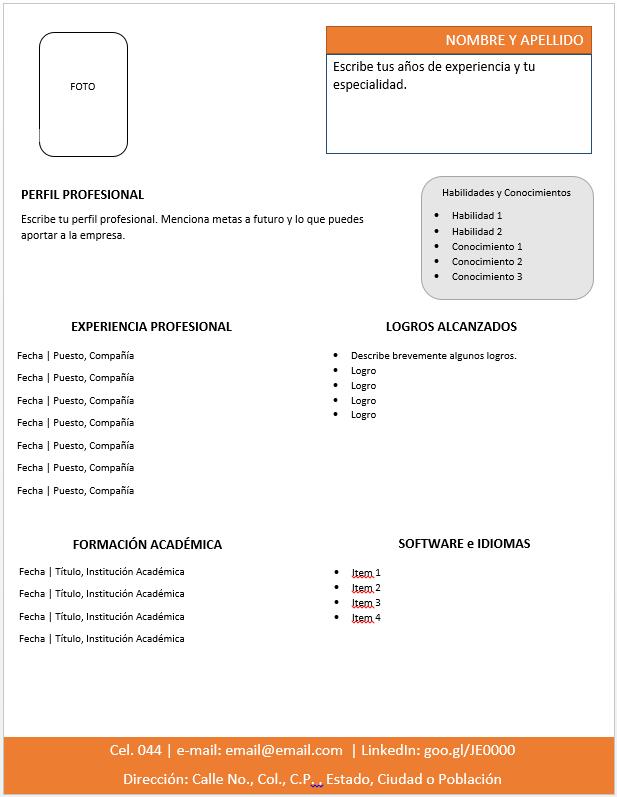 curr u00edculum vitae moderno  u0026gt  ejemplos  formatos y plantillas