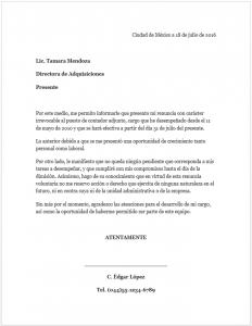 Ejemplo Carta de Renuncia