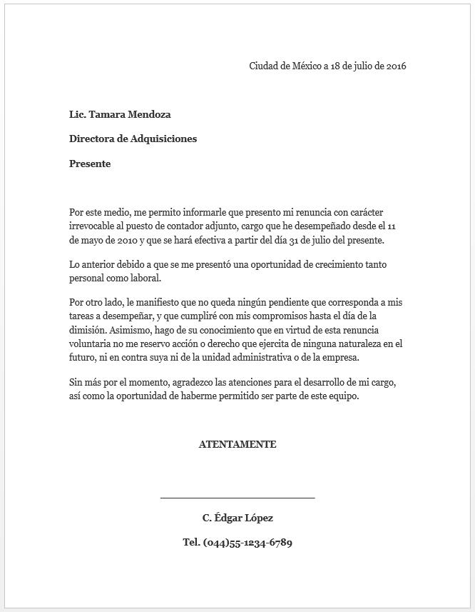 modelo de carta laboral de renuncia ejemplo de carta de renuncia