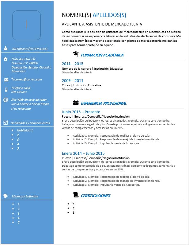 Curriculum Vitae Moderno Ejemplos Formatos Y Plantillas Gratis