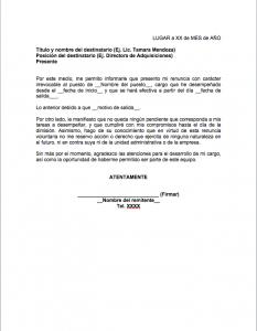 Formato de Carta de renuncia