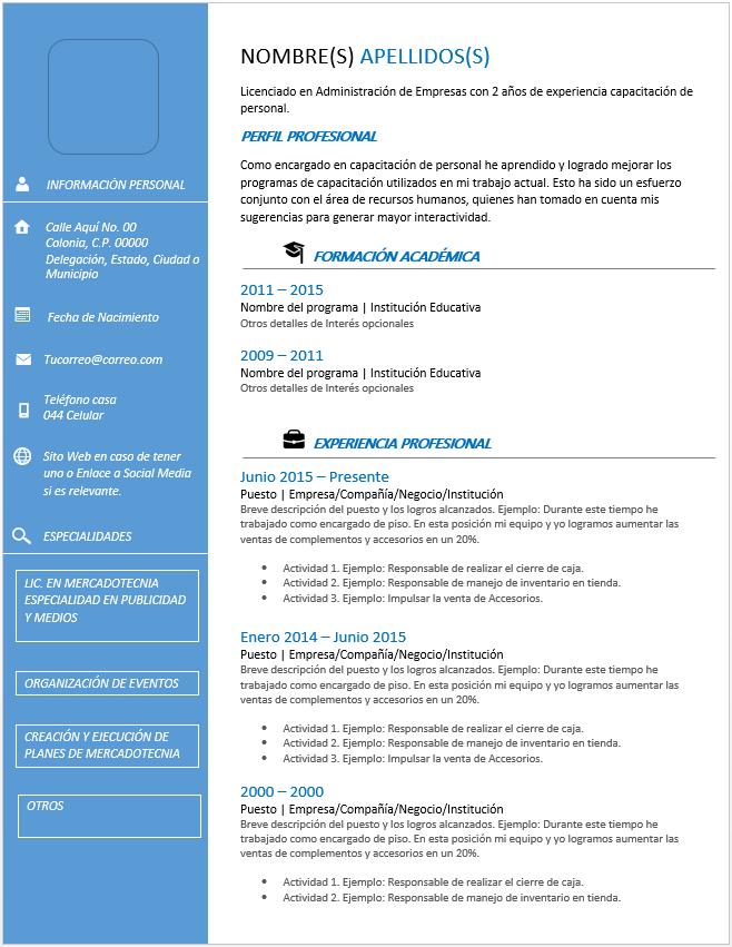 curriculum vitae cronol u00f3gico  u0026gt  ejemplos  formatos y