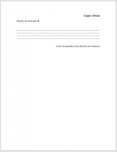 Formato de Carta Informal Corta