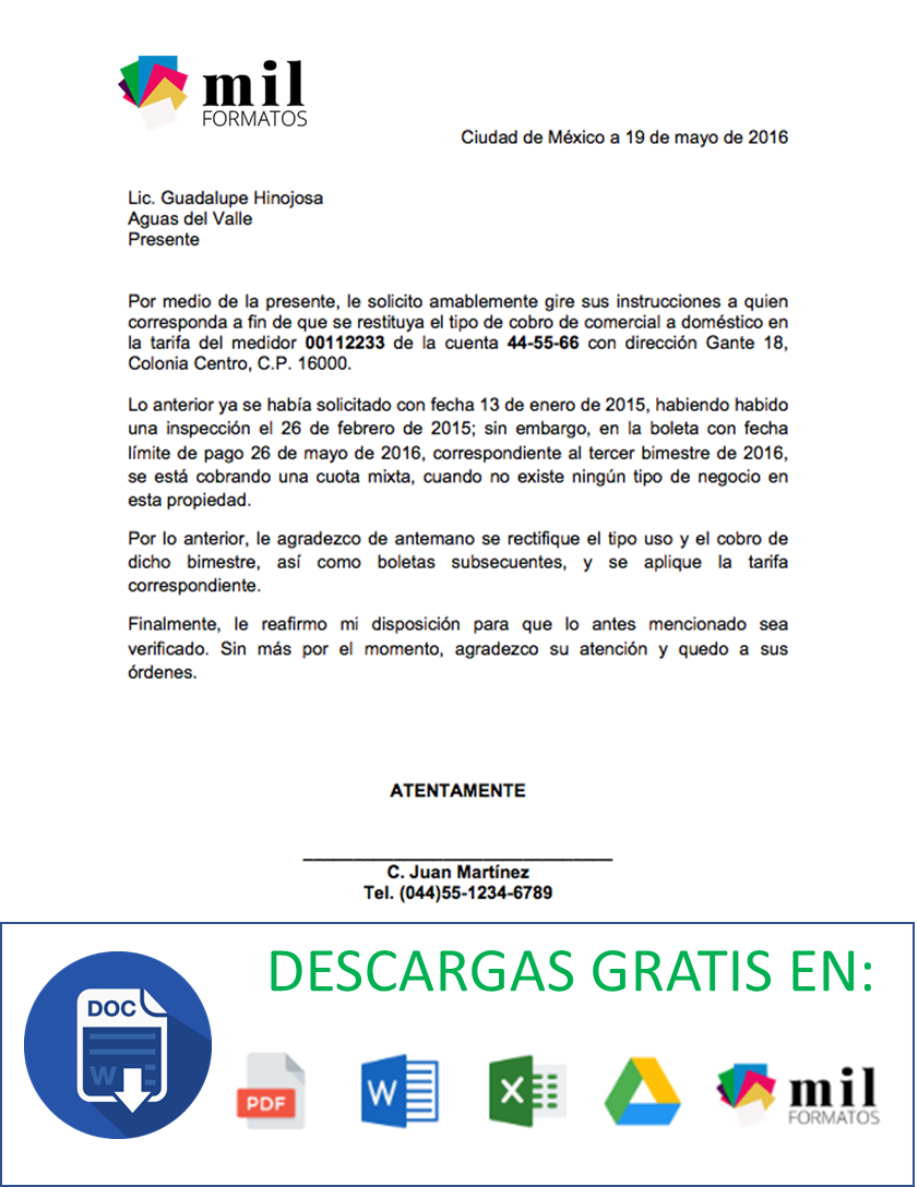 carta formal  u0026gt  formatos y ejemplos