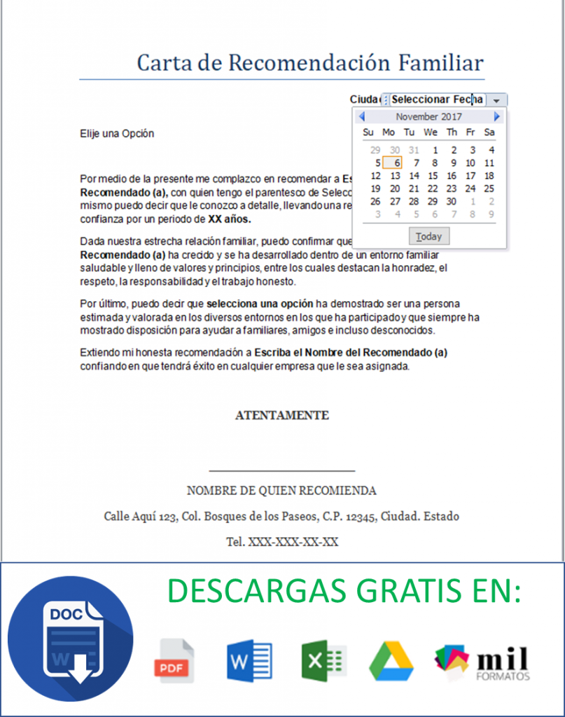 Carta de Recomendación Familiar > Formatos y Ejemplos | Word para ...