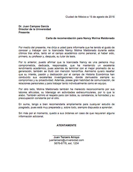 Carta De Recomendacion Academica Formatos Y Ejemplos
