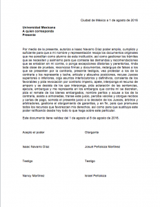 Ejemplo de usos de carta poder para recoger documentos
