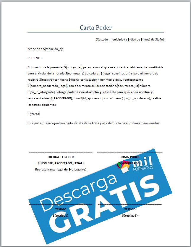 Carta Poder Formatos Y Ejemplos Word Para Llenar E Imprimir