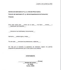 Formato de carta de presentación