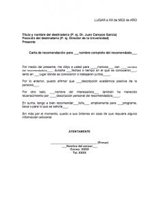 Formato de carta de recomendación académica