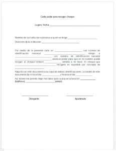 Formato de carta poder para recoger cheque