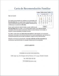 Formato de Carta de Recomendación Familiar en Word para llenar