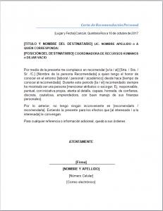 Formato Carta De Recomendacion Personal Milformatos Com