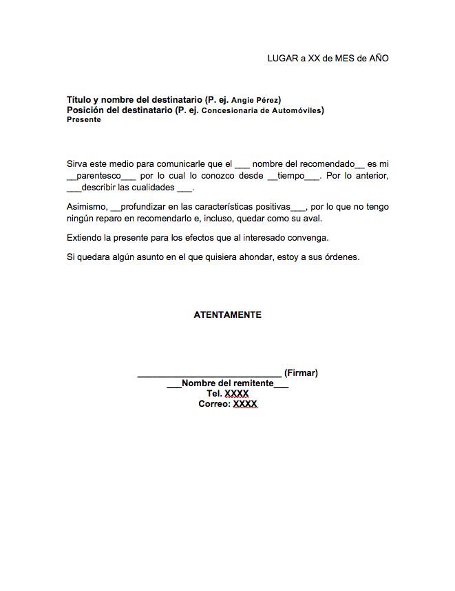 Formato de carta de recomendaci n familiar for Acta familiar