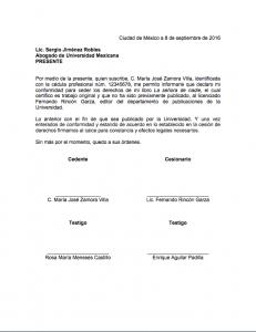 Ejemplo de carta de cesión de derechos
