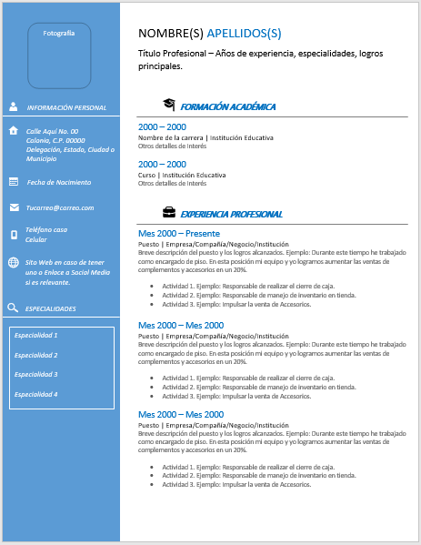 Curriculum Ejecutivo Ejemplos Formatos Y Plantillas Gratis Word Y Pdf Para Imprimir