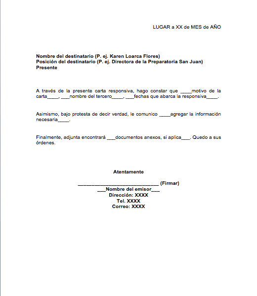 Carta Responsiva Formatos Y Ejemplos Word Para Imprimir