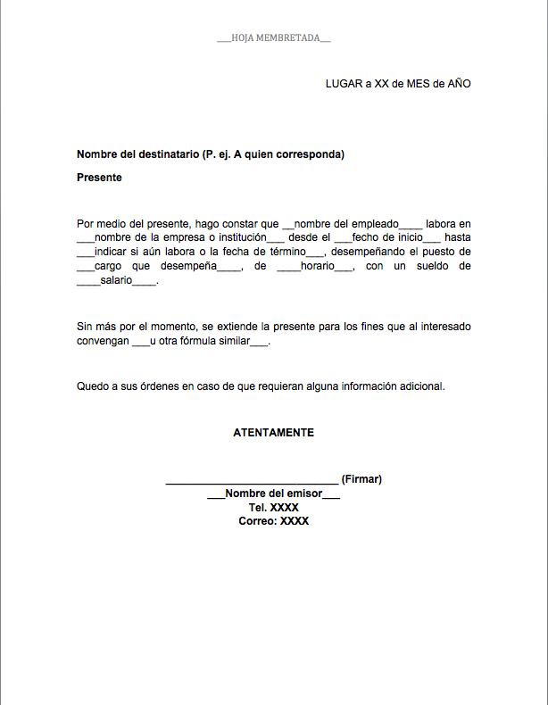 Constancia De Trabajo Carta Laboral Formatos Y Ejemplos Word Para Imprimir