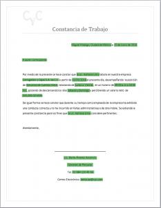 Formato de Constancia de Trabajo - Word