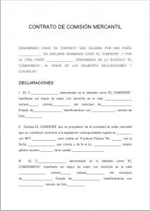 Formato de Contrato de Comisión Mercantil
