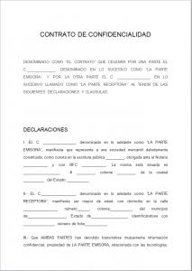Formato de Contrato o Acuerdo de Confidencialidad