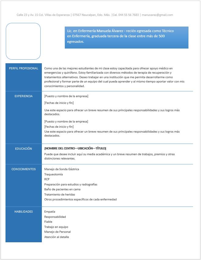 Curriculum Vitae De Enfermeria Ejemplos Formatos Y Plantillas