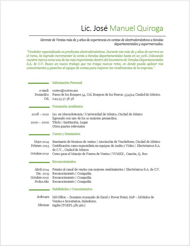 Curriculum Vitae De Vendedor Ejemplos Formatos Y Plantillas