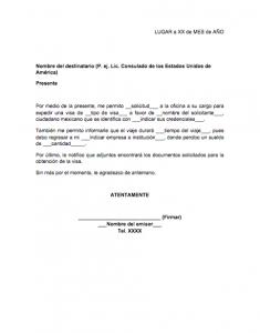 formato de carta laboral para visa