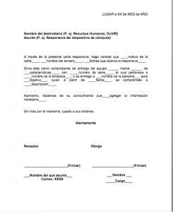 Formato de Carta Responsiva de Equipo de Cómputo y Otros