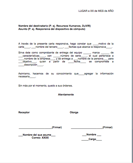 Formato de carta responsiva de equipo de c mputo y otros - Busco arquitecto tecnico ...