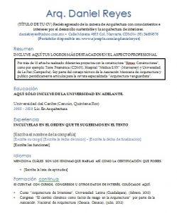 Curriculum Vitae Arquitecto Ejemplos Formatos Y Plantillas