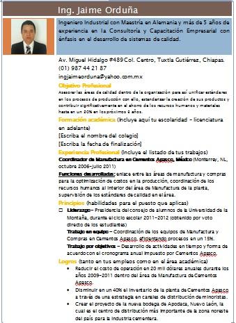 Curriculum Vitae Ingeniero Industrial Ejemplos Formatos Y