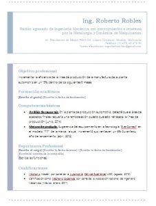 Ejemplo de Curriculum Vitae de Ingeniero Mecánico