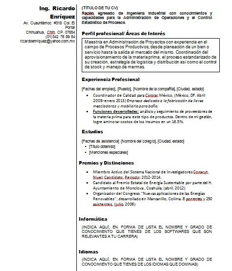 curriculum vitae ingeniero  u0026gt  ejemplos  formatos y plantillas  u00a1gratis