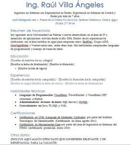 Ejemplo de Curriculum Vitae de Ingeniero en Sistemas