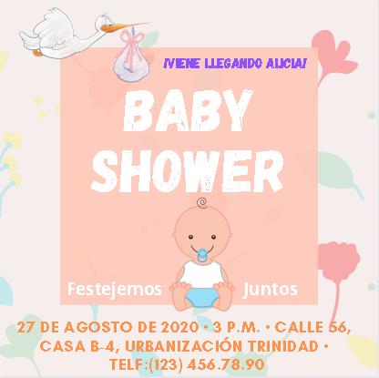Plantilla de Invitación para Baby Shower Color rosa apto para niño