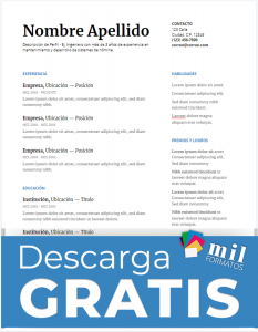 Formato de CV de Ingeniero Civil - Descarga Gratis