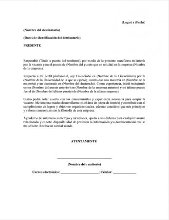 Formato carta de petición