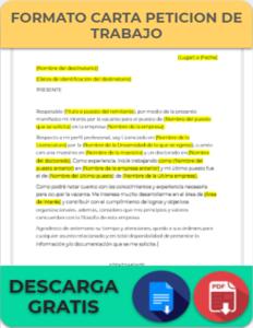 Formato de Carta Petición de Trabajo
