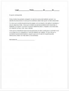 Formato de carta opinión para niños