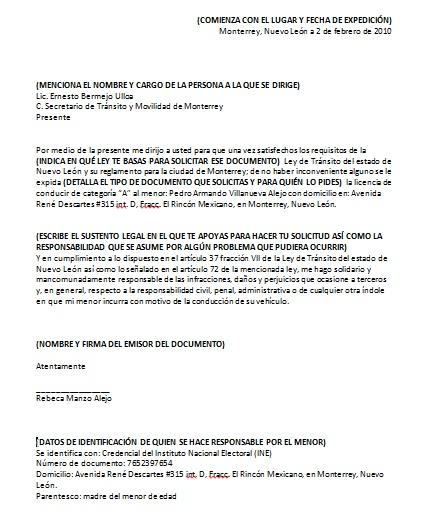 ejemplo carta responsiva para licencia de manejo