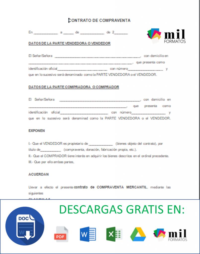 Contrato de Compraventa > Ejemplos y Formatos   Word y PDF para ...