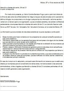 Ejemplo Carta de Confidencialidad