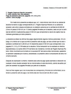 Ejemplo Carta de Pago